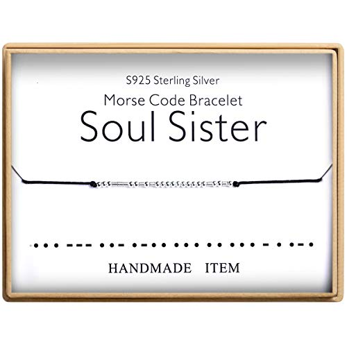 Birthday Gifts for Sisters Morse Code Soul Sister Bracelet 925 Sterling Silver Handmade Bead Adjustable String Bracelets Inspirational Jewelry for - Bracelets Silver Sterling Handmade
