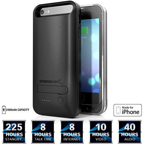 Sabrent 2400mAh MFI Apple Certified Premium Rechargeable Extended Battery Case for iPhone 5s, 5 (PB-IPH5) (Renewed)