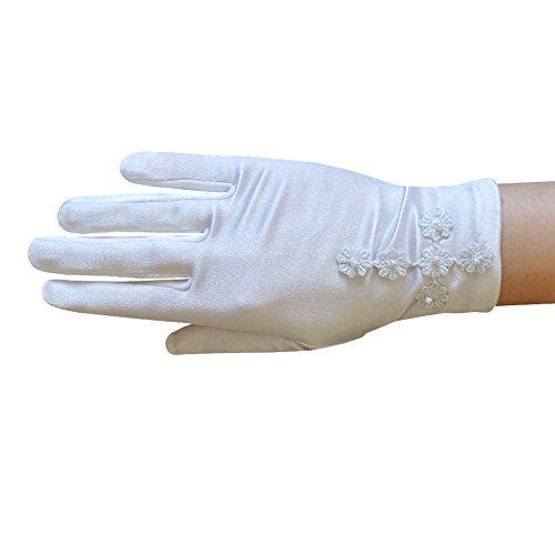 ZaZa Bridal Girl's White Satin Gloves with Daisy Flowers Cross & Pearls -Girl's Size Small - Venise Daisy