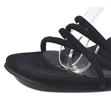 LvYuan Mujer Sandalias PU Verano Paseo Combinación Tacón Bajo Negro Gris 7'5 - 9'5 cms Black