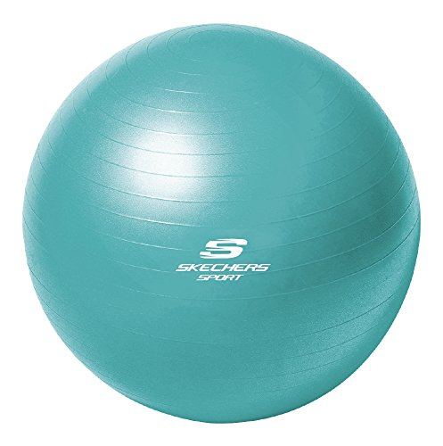 Skechers Sport Focus Series 55-Centimeter Teal Burst Resistant Fitness Ball With Pump For Increasing Flexibility And Core Toning, KS3582TA