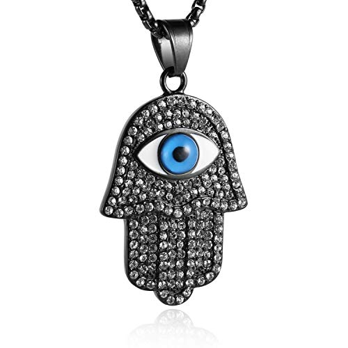 (HZMAN 18k Gold Plated Iced Out CZ Stainless Steel Blue Evil Eye Beads Fatima Hamsa Hand Pendant Necklace (Black) )