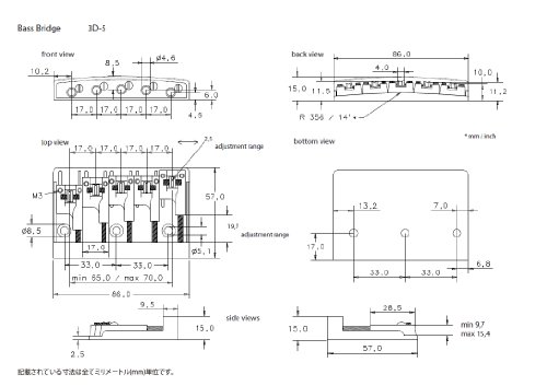 Schaller Bass Bridge Chrome - 3D-5 Model - 5-string by Schaller (Image #1)