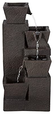 Tabletop Water Fountain With 4 Tier Modern Design and LED Lights - Square Table Fountain by Pure Garden (Brown) (Office, Patio and Home DÃcor)