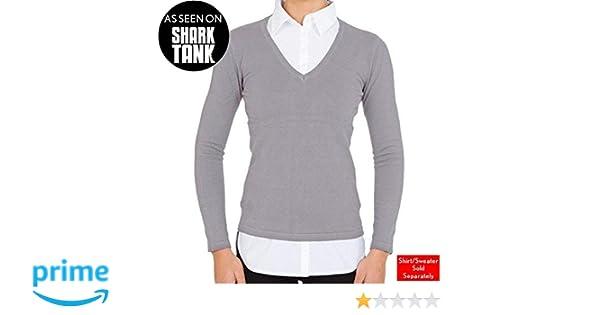 0e9c7d01d1d Amazon.com  SkinnyShirt Long Sleeve V-Neck Sweater Women Heather Grey  Cotton Lycra Womens Sweater Vest As Seen on Shark Tank (Medium)  Clothing
