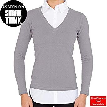 f1044464dff SkinnyShirt Long Sleeve V-Neck Sweater Women Heather Grey Cotton Lycra  Womens Sweater Vest As