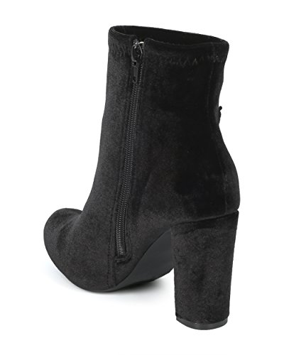 Velvet Chunky Patch Liliana HG16 Heel Alrisco Collection Bootie Rose Embroidered Black Velvet by Women XwXqfaO