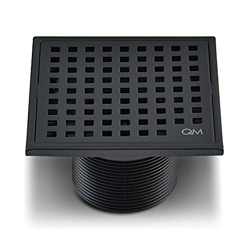 QM Square Shower Drain, Grate made of Stainless Steel Marine 316 and Base made of ABS, Lagos Series Mira Line, 4 inch, Oil Rubbed Bronze/Black Finish, Kit includes Hair Trap/Strainer and Key