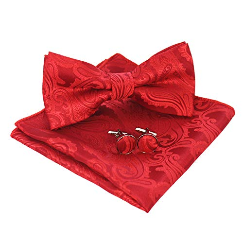 (JEMYGINS Mens Red Paisley Bow Tie and Pocket Square With Cufflinks Set(2))