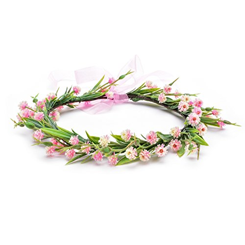 Floral Fall Christmas Flower Crown Vintage Nature Berries Festival Woodland Wedding Headband HD-02 (Z Pink Crown) 02 Flower