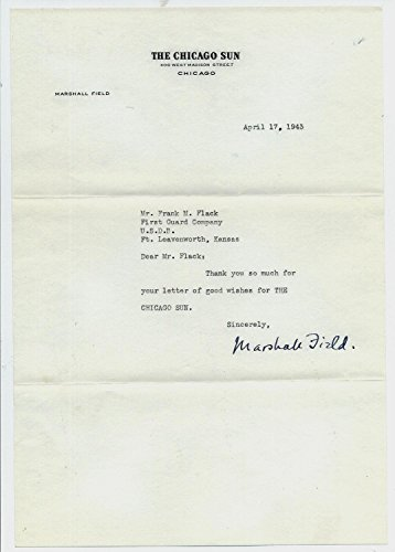marshall-field-iii-d1956-typed-signed-letter-chicago-sun-publisher-nfl-autographed-miscellaneous-ite