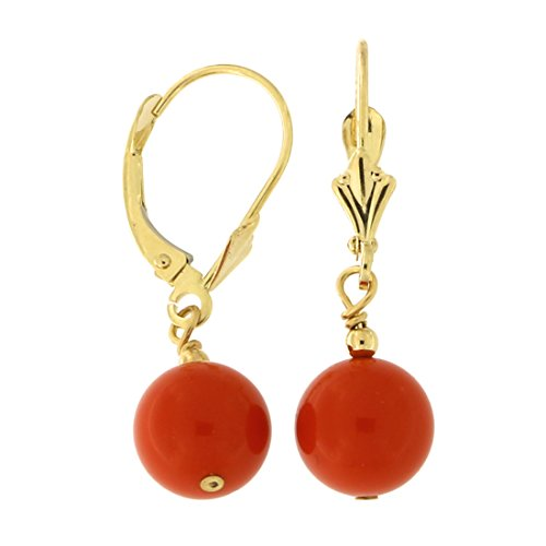 14k Yellow Gold Diamond Cut 8mm Simulated Coral Dangle Earrings