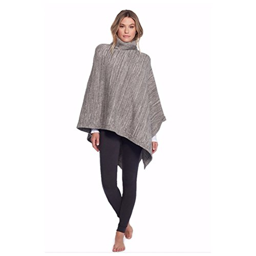 Barefoot Dreams Cozychic Point Dume Poncho (Graphite/Stone) by Barefoot Dreams