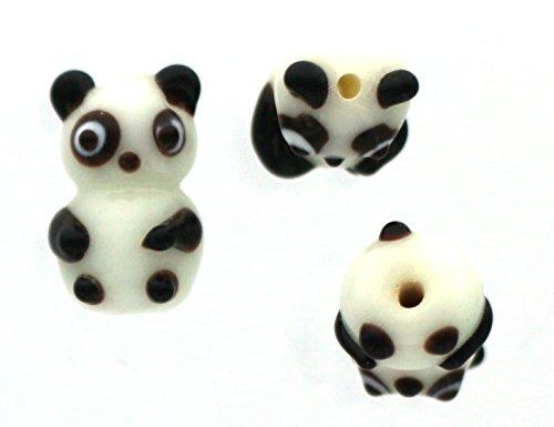 Panda Bear Approx 15mmx25mm 10 Lampwork Glass Beads