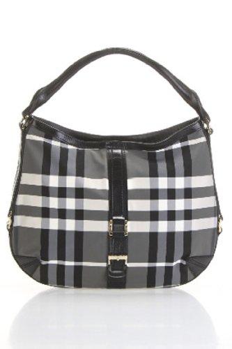 Burberry Grafton Medium Charcoal Beat Check Hobo bag (Medium, - Burberry Grey Bag