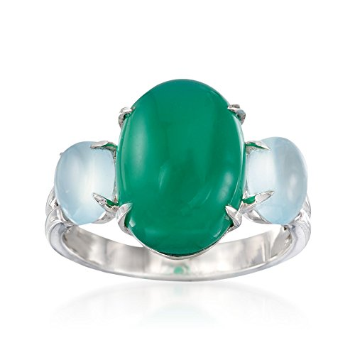 Ross-Simons Green and Blue Chalcedony Ring in Sterling (Blue Chalcedony Sterling Silver Ring)
