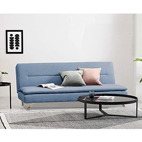 Furny Vingston 3 Seater Fabric Sofa Cum Bed Sofa  Blue