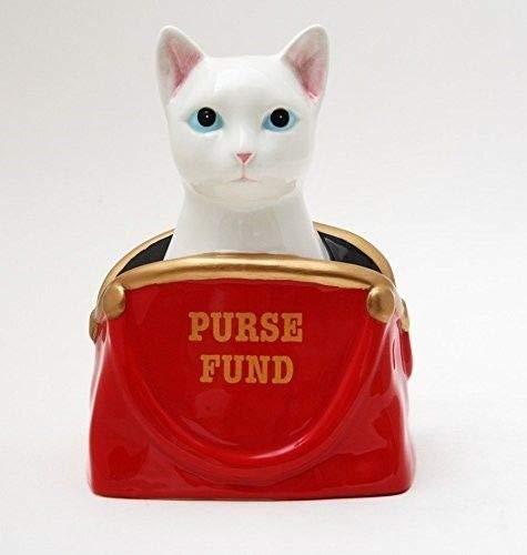 ShopForAllYou 置物と像 6.50インチ セラミック ホワイト キャット 財布 ファンド 節約 ピギー/コイン/貯金箱   B07KPJDZLN