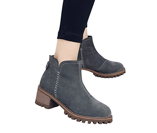 1bacha Adult Tennager Heel Gray Leather Girl Tortor Stacked Women Bootie Zipper Ankle dqpn6wWxt