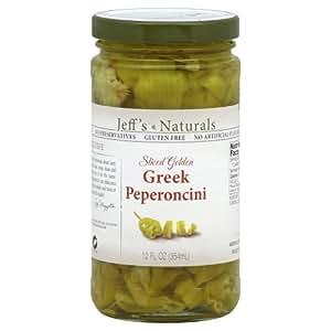 Jeff's Naturals Sliced Golden Greek Peperoncini (Pack of 6)