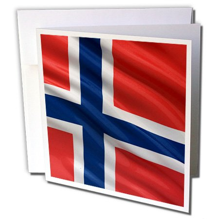 - 3dRose Flag of Norway waving in The Wind Greeting Cards, 6