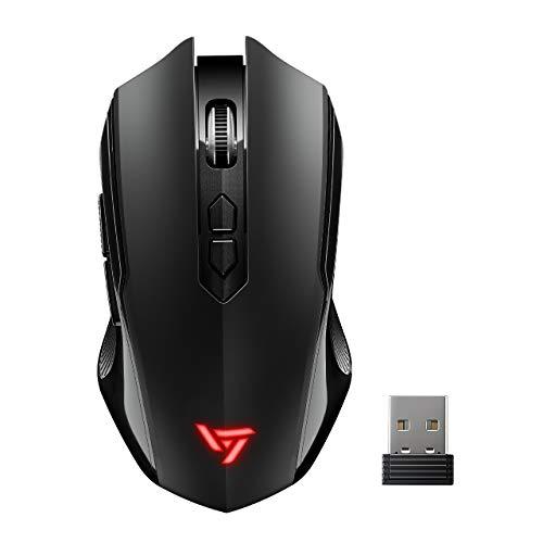 VicTsing Wireless Gaming Mouse Unique Silent Click, Portable Silent Mouse 2.4GHz Dropout-Free Connection PC Windows 7/8/10/XP Vista Linux Mac, Black