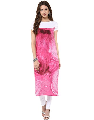 Janasya-Womens-Pink-Casual-Crepe-Kurti