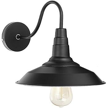Jeteven Metal 1-light Wall Sconce L& Shade Industrial Gooseneck Barn Light Fixtures for E27  sc 1 st  Amazon.com & Jeteven Metal 1-light Wall Sconce Lamp Shade Industrial Gooseneck ...