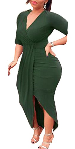 AM CLOTHES Womens Sexy Long Sleeve High Low Ruched Slit Bodycon Party Midi Dresses Large Green