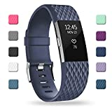 POY Replacement Bands Compatible for Fitbit Charge 2, Adjustable Sport Wristbands, Large Navy 1PC