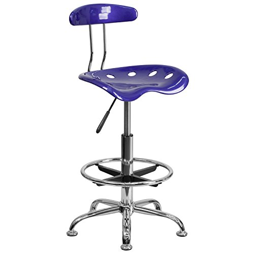 MFO Vibrant Deep Blue and Chrome Drafting Stool with Tractor Seat