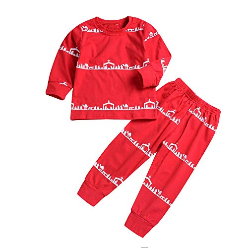 Baby Boys Clothes,Toddler Kids Baby Boy Girl T Shirt Tops Pants Pajamas Sleepwear Christmas Outfit,Baby Boys' Clothing Sets,Red,100 -