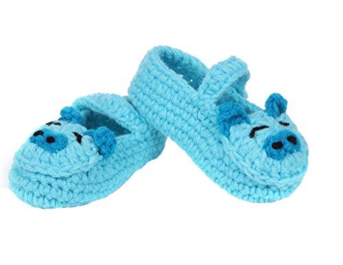 Bigood Strick Schuh Baby Unisex Strickschuh One Size süße Muster 11cm Schwein Blau