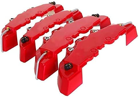 KQZLLL ABS Pl/ástico Cami/ón 3D Rojo /Útil Coche Universal Freno de Disco Pinza Cubre Parte Delantera Trasera Auto Kit Universal