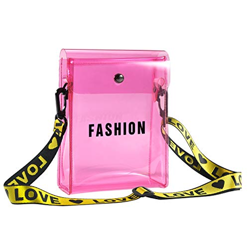 (Women Small Crossbody Bag Clear Phone Purse Messenger Shoulder Bag with Adjustable Strap Transparent Handbag (Pink))