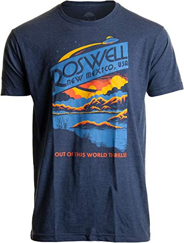 Roswell, NM Tourism | Funny Alien Extraterrestrial UFO Saucer Men Women T-Shirt-(Adult,XL) Vintage Navy ()