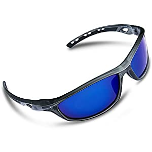 RIVBOS Polarized Sports Sunglasses Driving Sun Glasses for Men Women Tr 90 Unbreakable Frame for Cycling Baseball Running Rb833 (Transparent Grey Ice Blue Lens)
