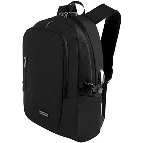 Laptop Backpack with USB Charging Port Anti-Theft[Water Resistant] College Bookbag School Business Travel Backpack Computer Backpack for Men Women Fits up to 16-inch Notebook (Black) (Best Bookbag For College)