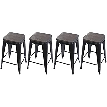 Amazon Com Gia Black 24 Quot Metal Stool With Wooden Seat Set