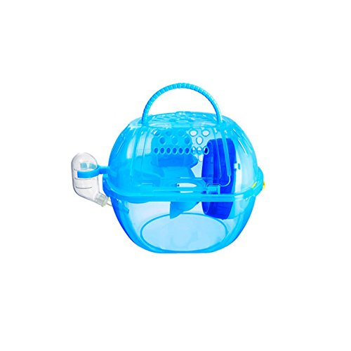 OMEM Hamster Cage 2 Floors, Portable and Transparent , Hamster Supplies Toys (Blue)