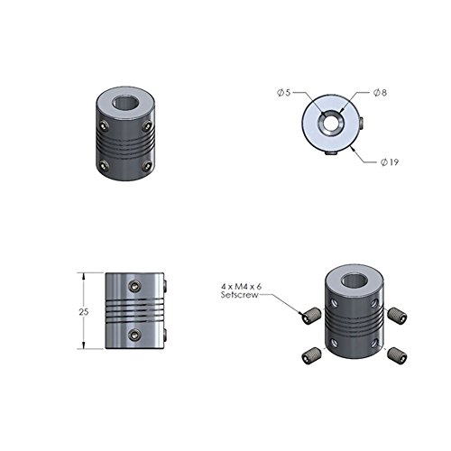 [해외]OctagonStar Flexible Couplings RepRap 3D 프린터 또는 CNC 기계 (2PCS) 용 NEMA 17 샤프트 5mm ~ 8mm/OctagonStar Flexible Couplings 5mm to 8mm NEMA 17 Shaft for RepRap 3D Printer or CNC Machine(2PCS)