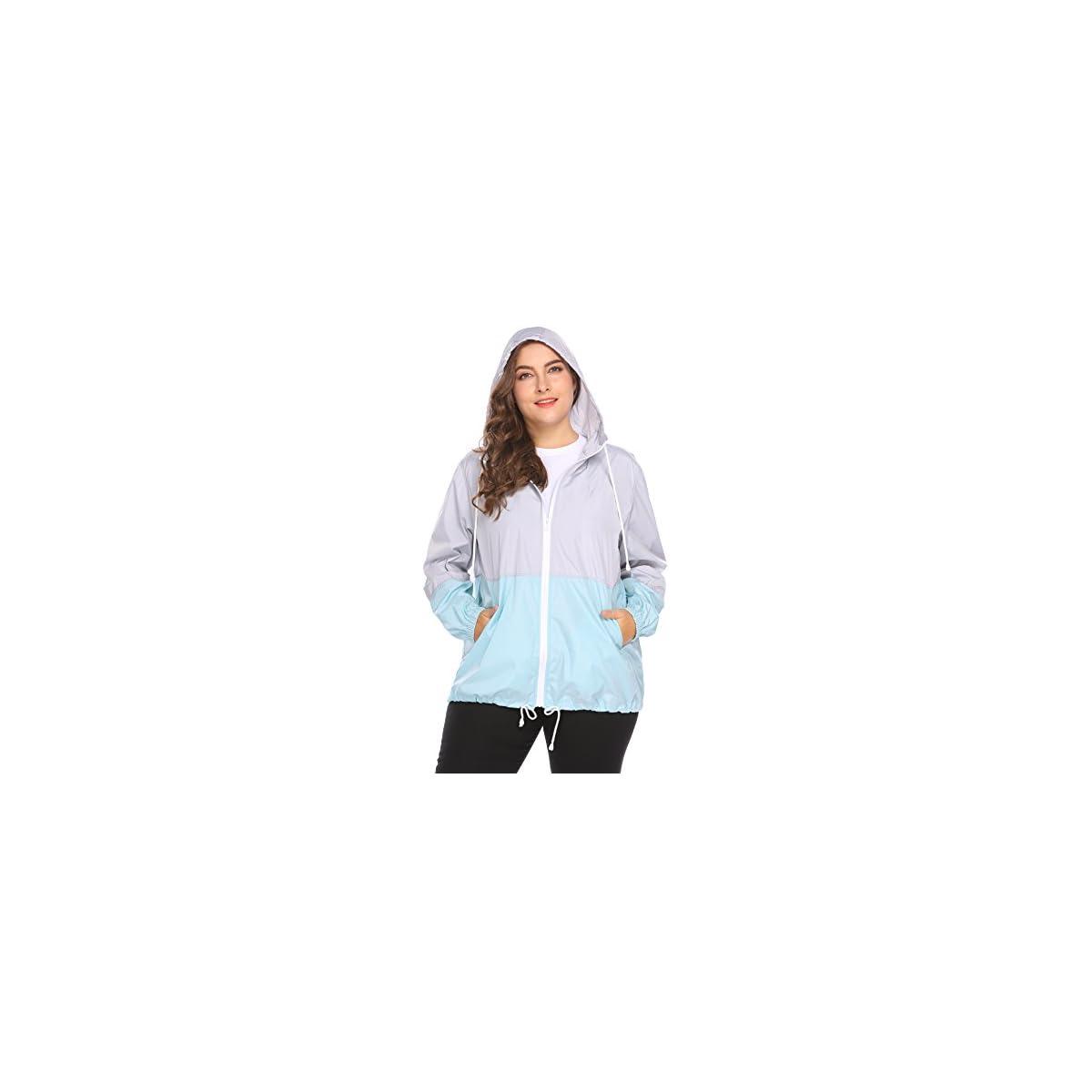 fefe70cd1ec PuertaPuerta - IN VOLAND Women s Plus Size Rain Jacket Anoraks Lightweight  Hooded Waterproof Active Outdoor Rain Coat