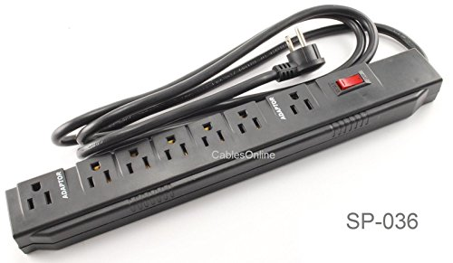 CablesOnline, Power Strip with 5 Horizontal + 2 Adapter Outlets w/6-foot Cable , SP-036 ()