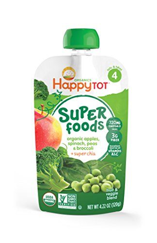 Happy Tot Organic Stage 4 Super Foods, Apples, Spinach, Peas & Broccoli + Super Chia, 4.22 oz (Pack of 16)