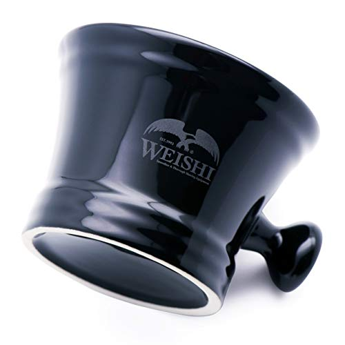 - Weishi Black Porcelain Shaving Soap Bowl With Handle Mug For Shave Soap And Cream