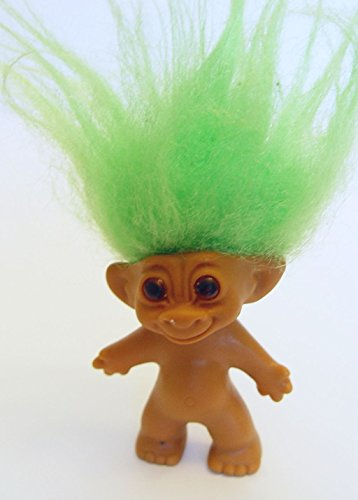 """Uneeda Green Haired Amber Eyed Troll Doll 3"""" Tall"""