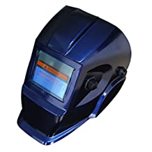 """Solar Power Piperine Auto Darkening Welding Hood with 3.86""""x1.78"""" Wide Shade Range Din 9-13 with Grinding Feature Extra Lens Covers Good for Arc Tig Mig Plasma Ce En175 En379, Ansi Z87.1-2010 Certified (Blue Eh-103)"""