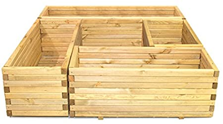 42cm Small Wooden Pine Raised Cube Planter Durable Treated Pine /& Responsibly Sourced Timber