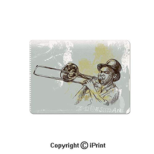 Gaming Mouse Pads, Trumpet Player Illustration Rock and Roll Party Classic Artful Design Non Slip Rubber Mousepad,7.1x8.7 inch,Gray Yellow -