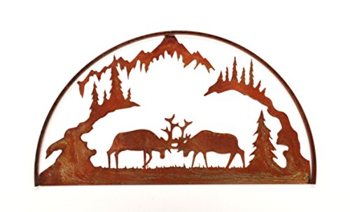 7055 Inc Fighting Elk Hoop Scene in Rust Metal Wall Art, Natural Rust - Art Hoop